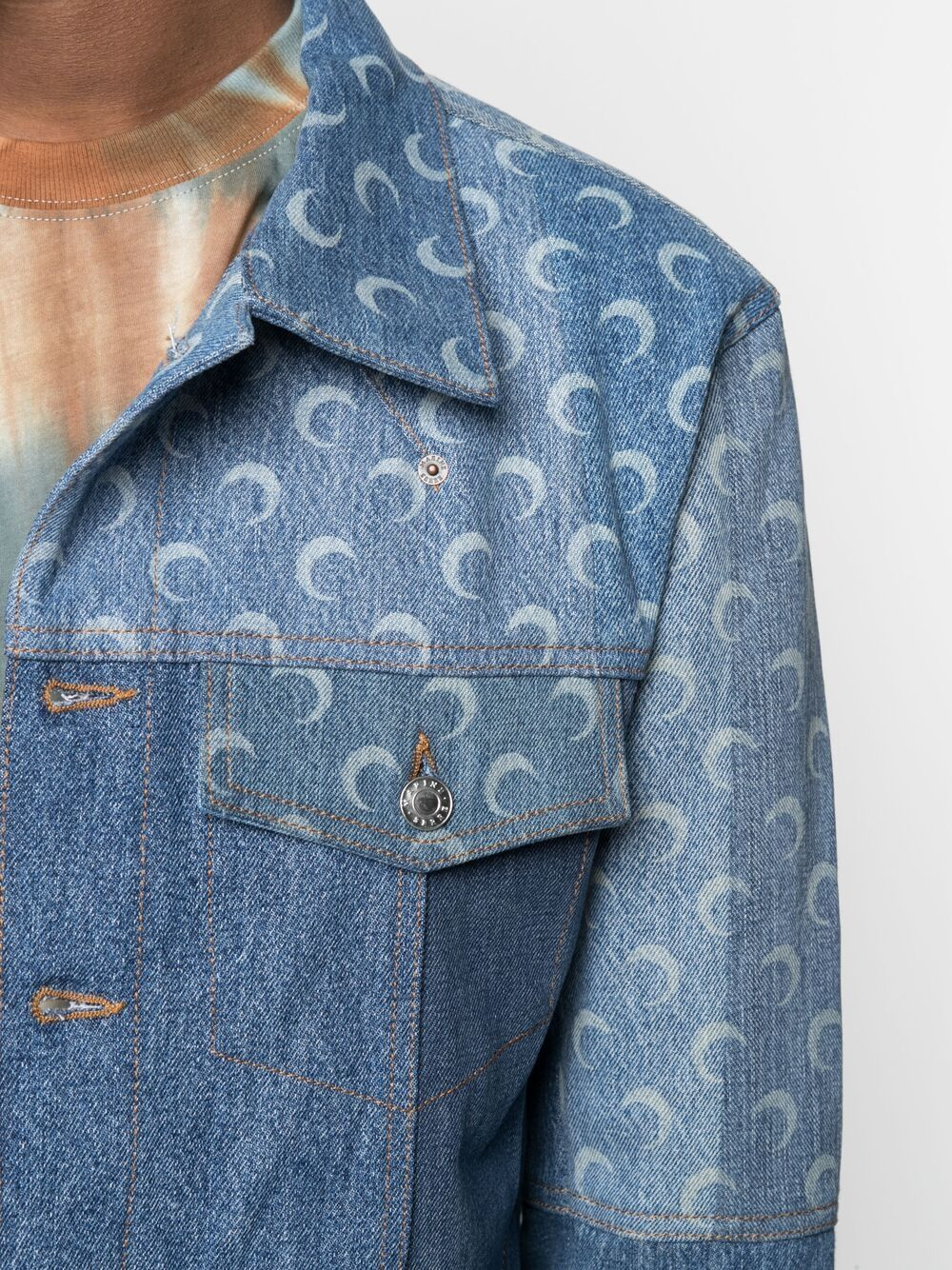 Marine Serre giacca con stampa luna uomo MARINE SERRE | Giacche | J037SS21MU-DENCO000406