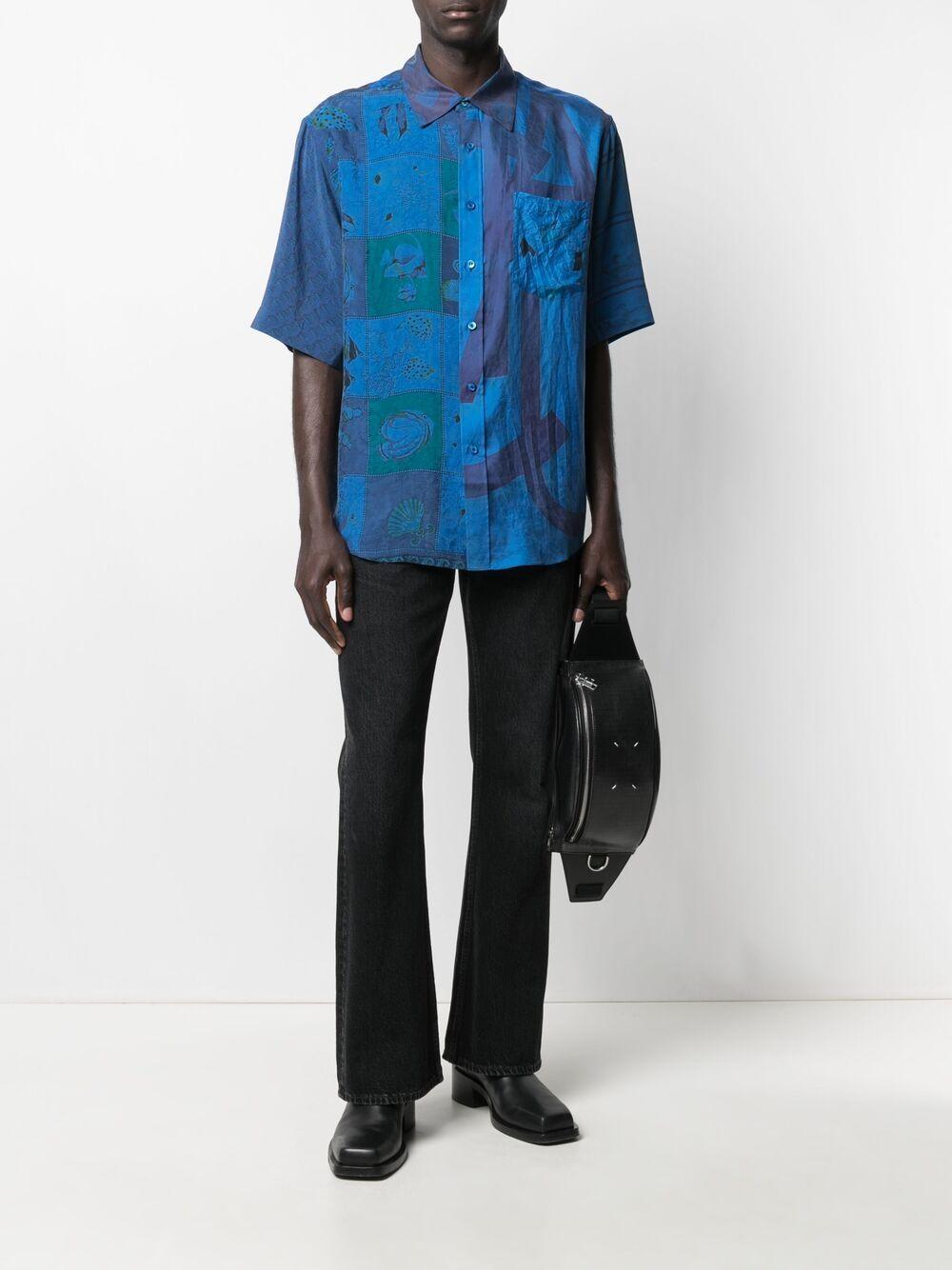 Marine Serre camicia con foular in seta uomo blu MARINE SERRE | Camicie | T076SS21XU06