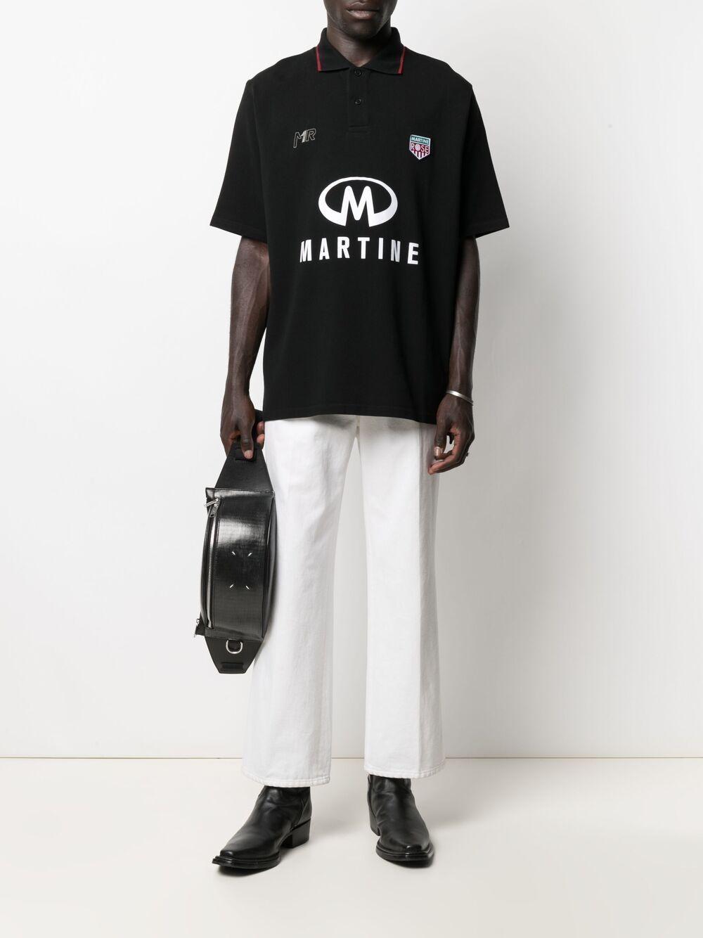 Martine Rose logo print short sleeved polo shirt man black MARTINE ROSE | Polo | MR903JMR009