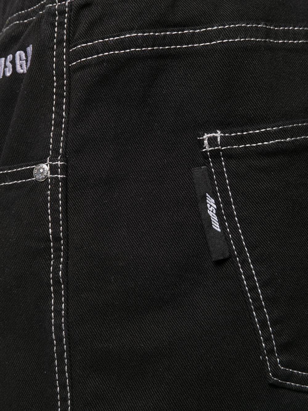 contrast stitching shorts man black in cotton MSGM | Shorts | 3040MB44T 21727999