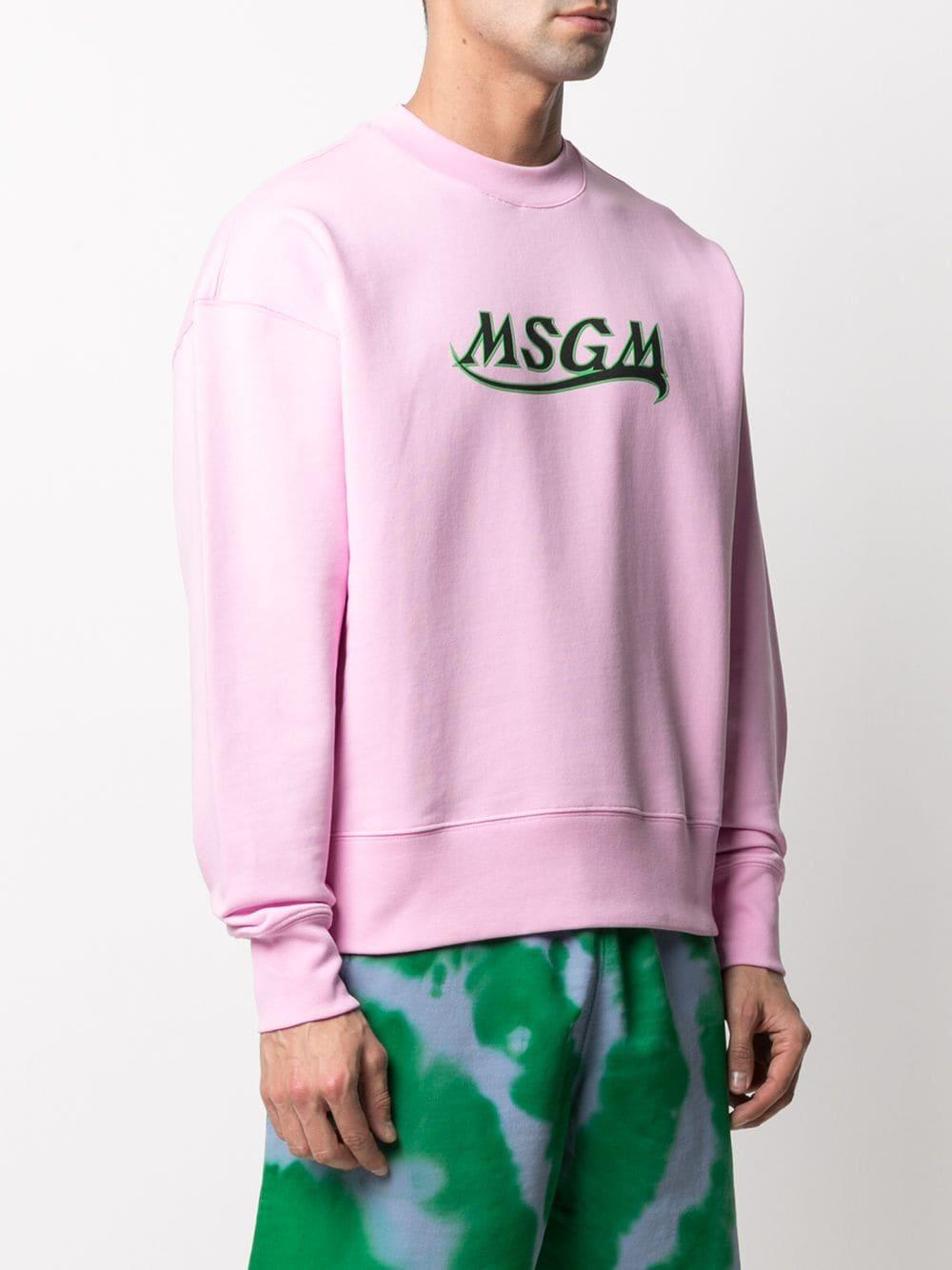 felpa a girocollo uomo rosa in cotone MSGM   Felpe   3040MM185 21709912