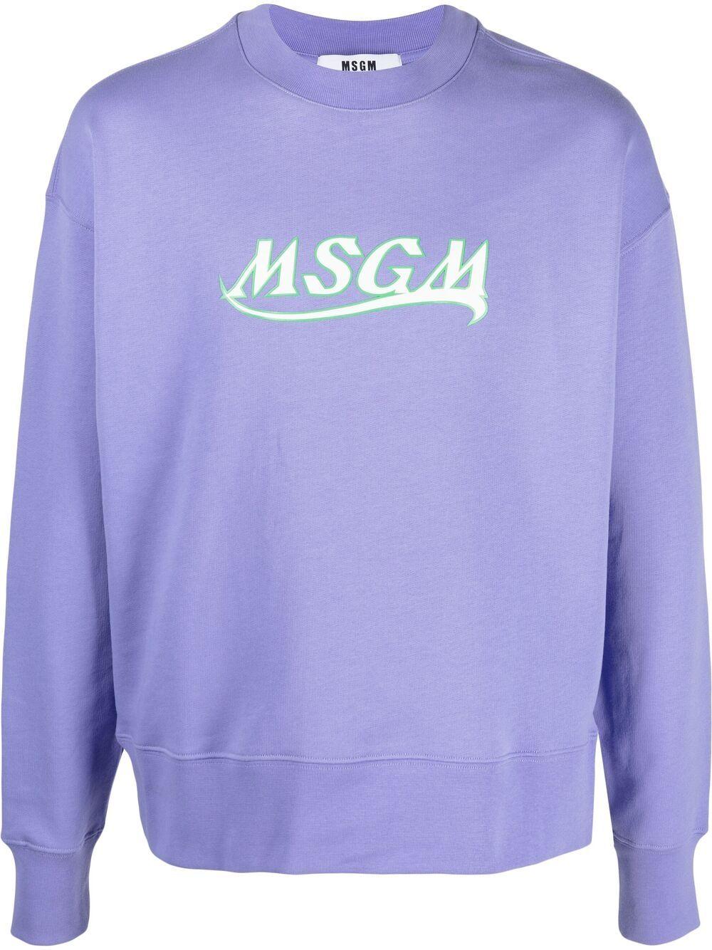 logo sweatshirt man light blue in cotton MSGM | Sweatshirts | 3040MM185 21709972