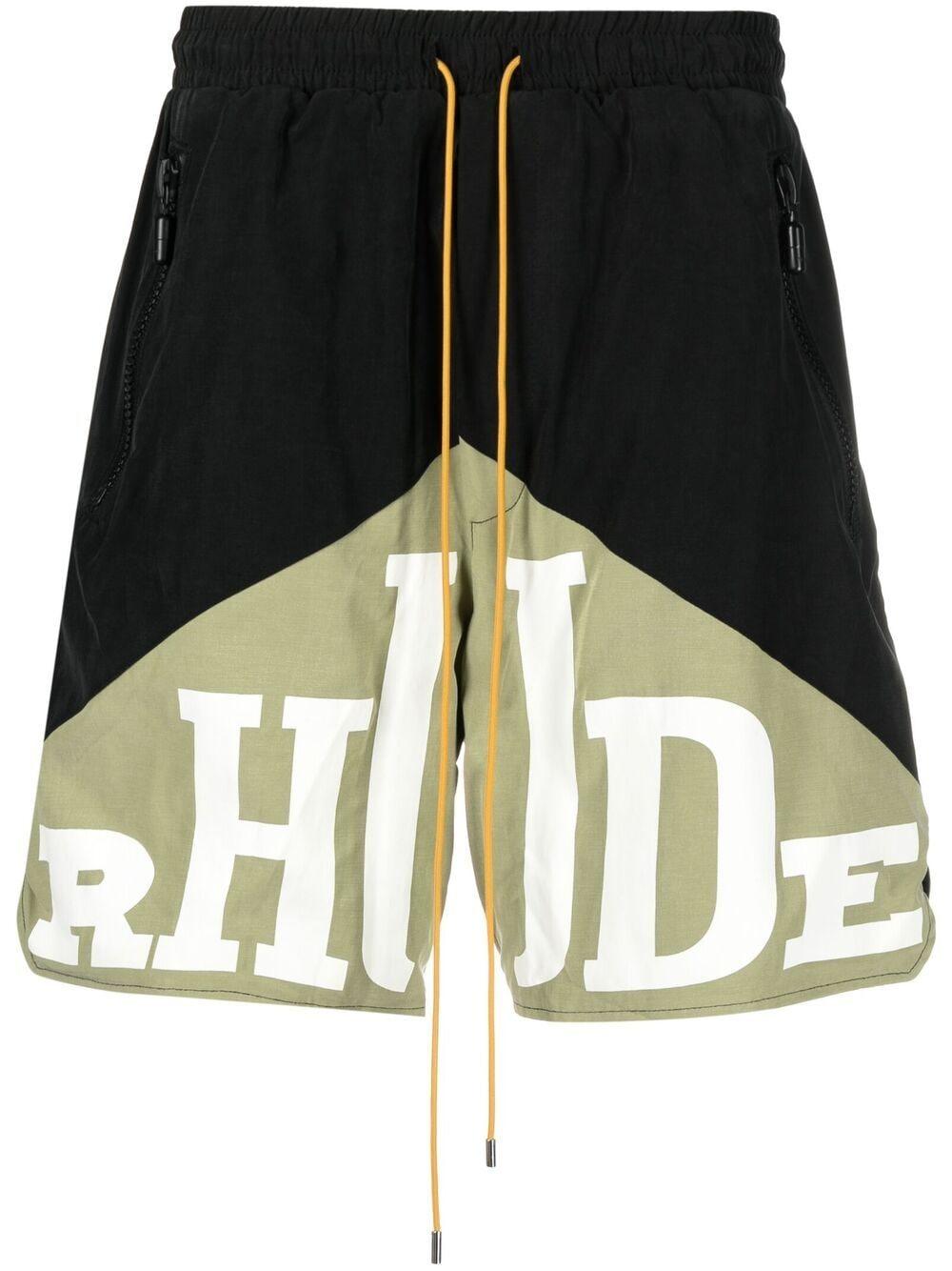 Rhude bermuda con stampa logo uomo nero RHUDE | Bermuda | RHPS21SH0359