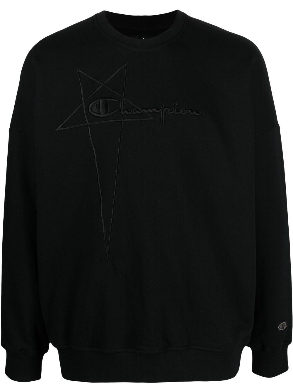 Rick Owens X Champion felpa con logo ricamato uomo nero RICK OWENS X CHAMPION | Felpe | CM21S0005 21676009
