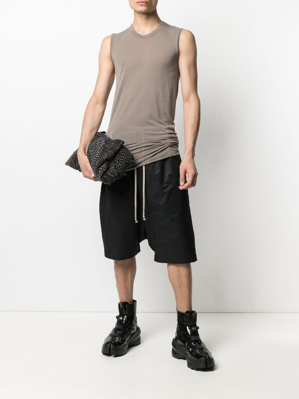 Top lungo marrone uomo cotone RICK OWENS | T-shirt | RU21S6151 JS34
