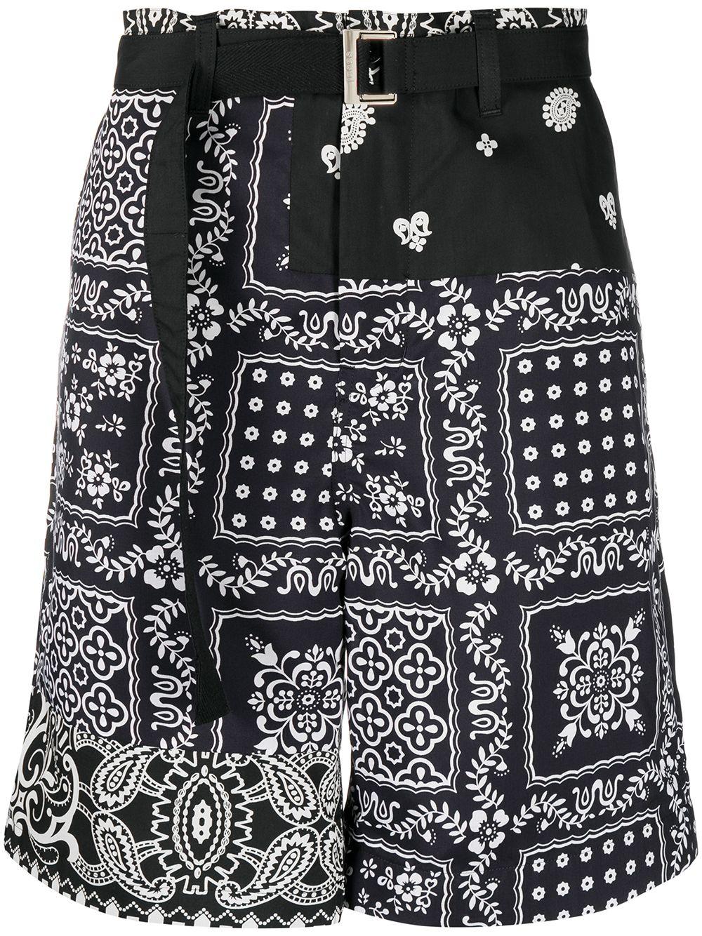 archive print mix shorts man black in polyester SACAI | Shorts | 21-02473MBLACK/NAVY