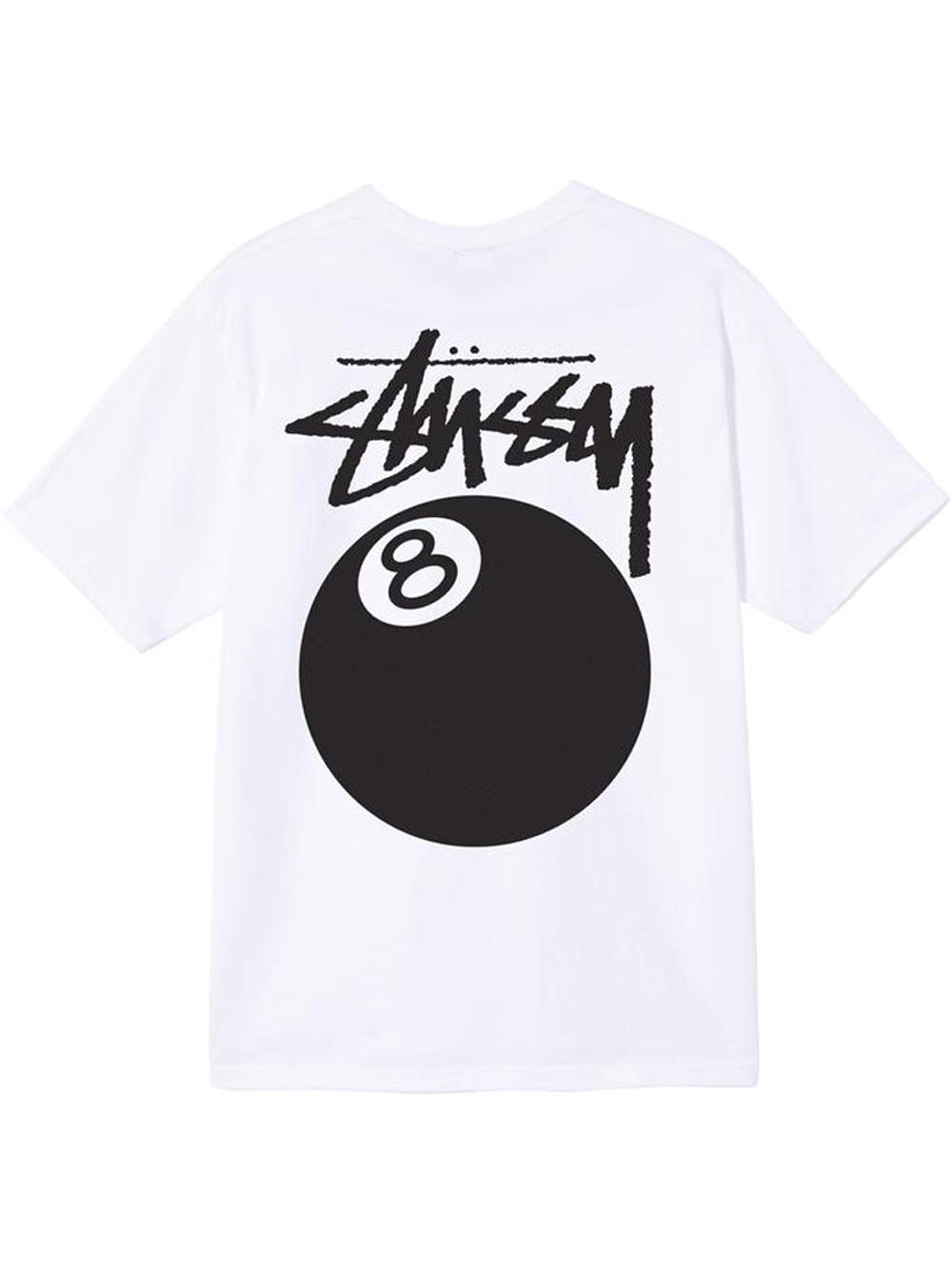 T-shirt 8 Ball Bianca in Cotone Uomo STUSSY   T-shirt   1904684WHITE