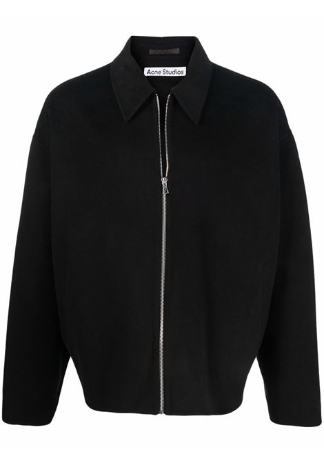 giacca con zip uomo nera in lana ACNE STUDIOS | Giacche | B90540BLACK