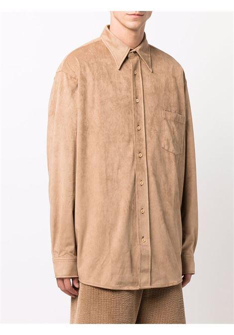 camicia con tasca uomo beige in cotone ACNE STUDIOS | Camicie | BB0403LIGHT BROWN