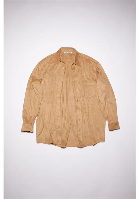 camicia con tasca uomo beige in cotone ACNE STUDIOS   Camicie   BB0403LIGHT BROWN