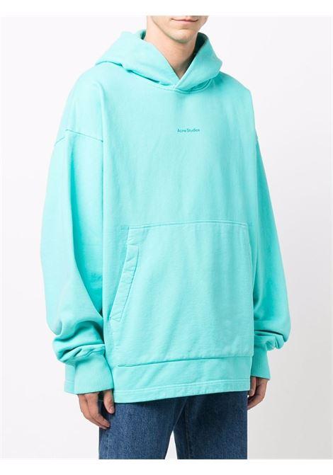 logo hoodie man light blue in cotton ACNE STUDIOS | Sweatshirts | BI0139JADE GREEN