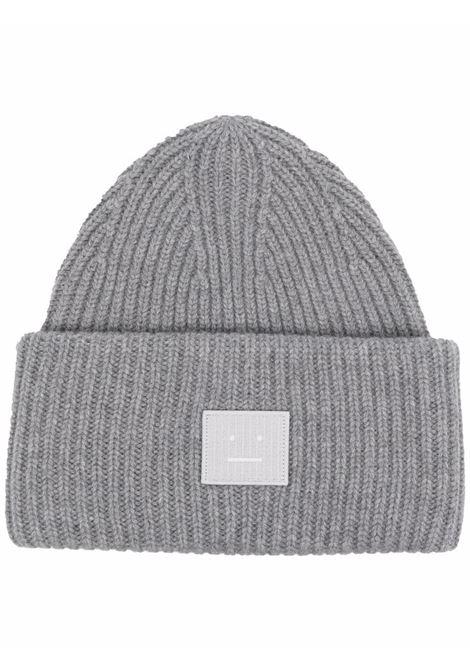 cappello con applicazione unisex grigio in lana ACNE STUDIOS | Cappelli | C40135GREY MELANGE