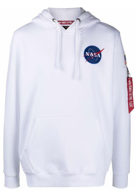 logo hoodie man white in cotton ALPHA INDUSTRIES | Sweatshirts | 17831709