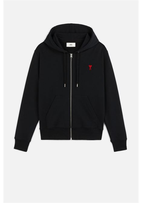 Ami de coeur zip hoodie Black in Cotton Man AMI - ALEXANDRE MATTIUSSI | Sweatshirts | A21HJ006.730001