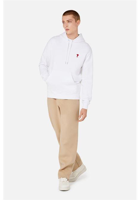 Ami de coeur hoodie White in Cotton Man AMI - ALEXANDRE MATTIUSSI | Sweatshirts | A21HJ008.730100