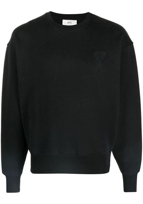 Ami de coeur sweatshirt Black in Cotton Man AMI - ALEXANDRE MATTIUSSI | Sweatshirts | A21HJ028.747001