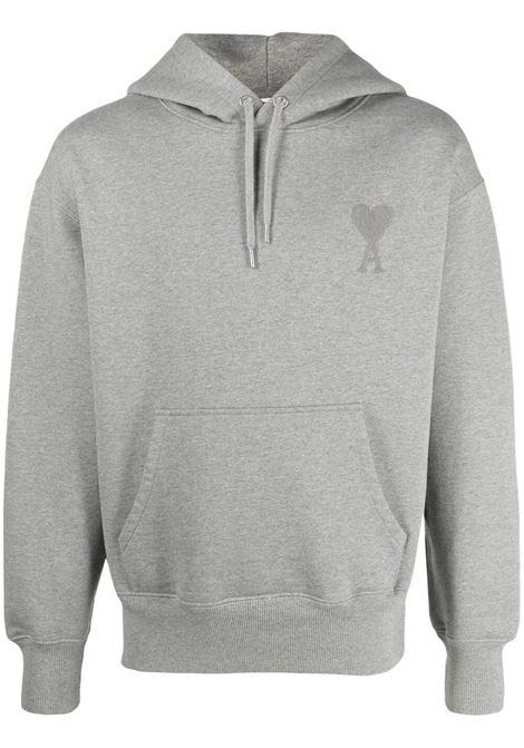 ami de coeur hooded sweatshirt man gray in cotton AMI - ALEXANDRE MATTIUSSI | Sweatshirts | A21HJ058.747055