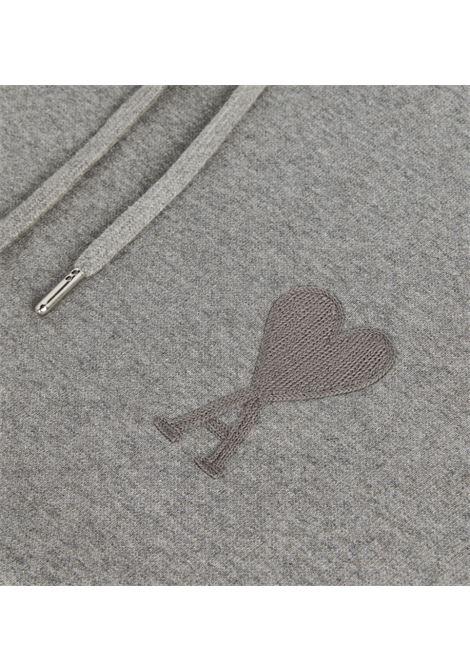 felpa con cappuccio ami de coeur uomo grigia cotone AMI - ALEXANDRE MATTIUSSI | Felpe | A21HJ058.747055