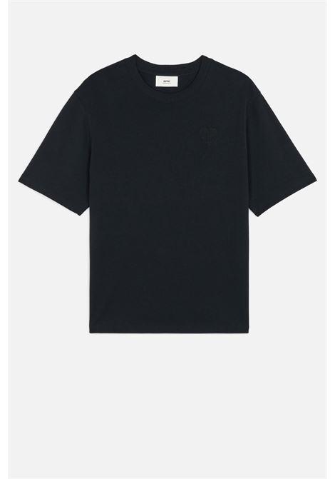 t-shirt con logo uomo nera in cotone AMI - ALEXANDRE MATTIUSSI   T-shirt   A21HJ128.726001