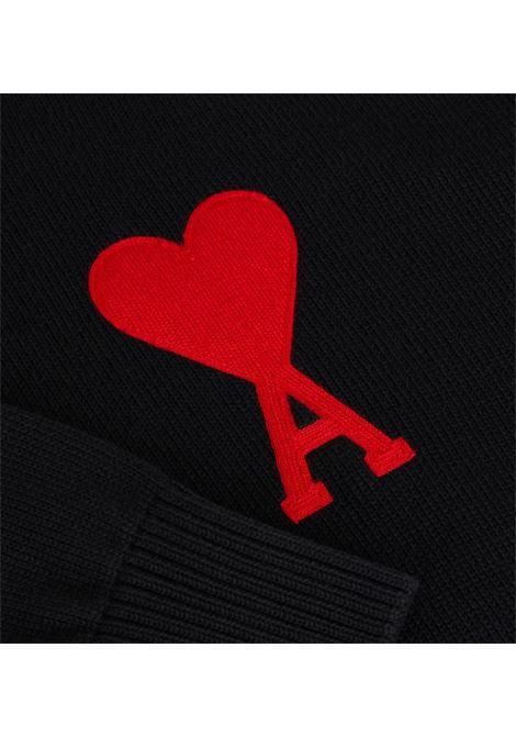 ami de coeur sweater man black in cotton and wool AMI - ALEXANDRE MATTIUSSI | Sweaters | A21HK009.016001