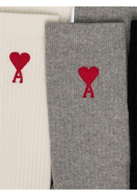 Tripack calzini con logo Multicolor Unisex AMI - ALEXANDRE MATTIUSSI | Calzini | BFA600.377971