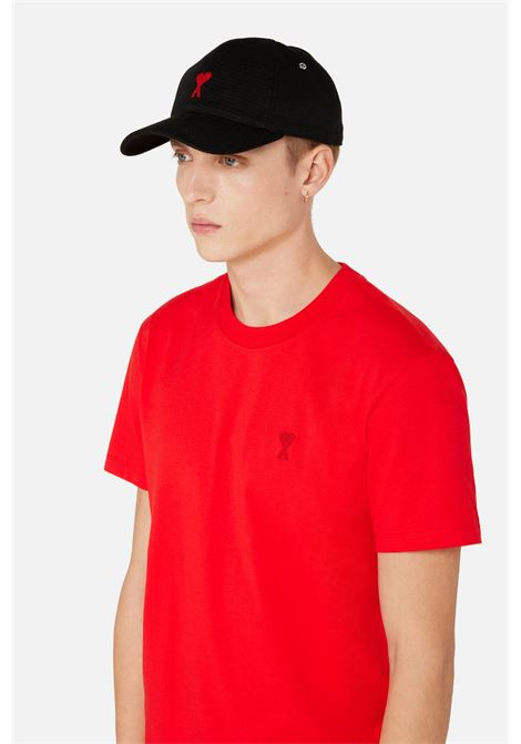 Cappello ami de coeur Nero in Cotone Uomo AMI - ALEXANDRE MATTIUSSI   Cappelli   BFHA213.248001