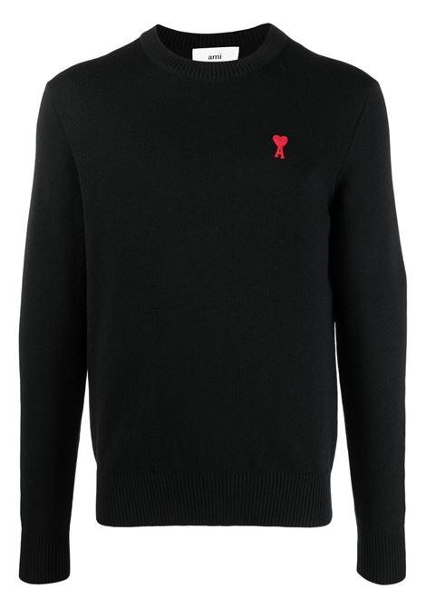 Maglione ami de coeur nero uomo lana merino AMI - ALEXANDRE MATTIUSSI | Maglieria | BFHK001.001001