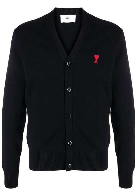 Cardigan ami de coeur nero uomo lana merino AMI - ALEXANDRE MATTIUSSI | Maglieria | BFHK305.001001