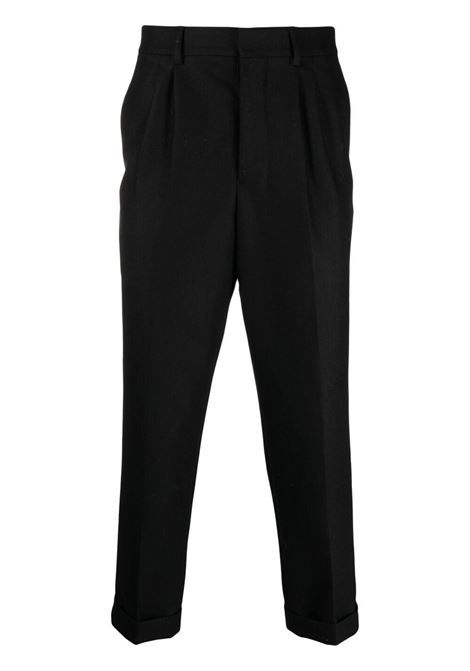carotte plis trousers man black in wool AMI - ALEXANDRE MATTIUSSI | Trousers | H21HT402.231001