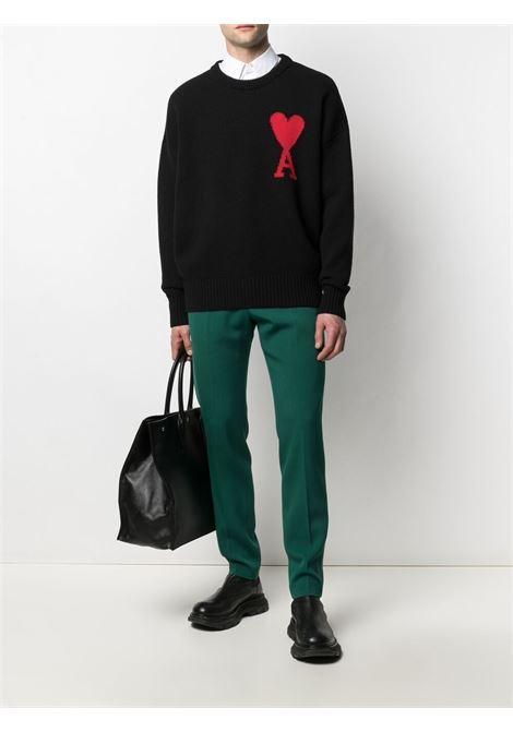 ami de coeur sweater man black in wool AMI - ALEXANDRE MATTIUSSI | Sweaters | H21K009.018001