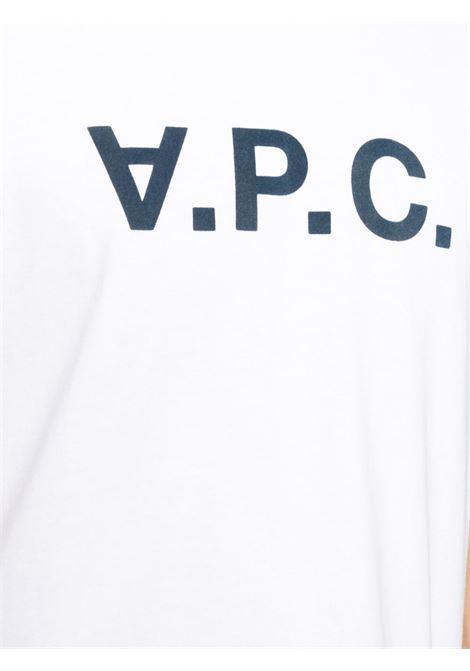 t-shirt con logo uomo bianca in cotone A.P.C. | T-shirt | COBQX-H26586IAK