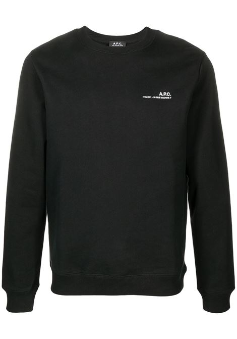 Logo sweatshirt Black Cotton Man A.P.C. | Sweatshirts | COEAS-H27608LZZ