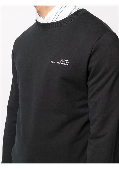 Felpa con logo Nera in Cotone Uomo A.P.C. | Felpe | COEAS-H27608LZZ