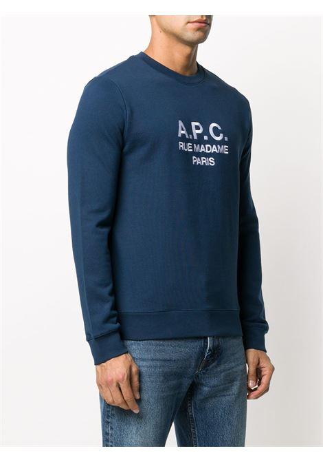 logo sweatshirt man blue in cotton A.P.C. | Sweatshirts | COEBH-H27500IAJ