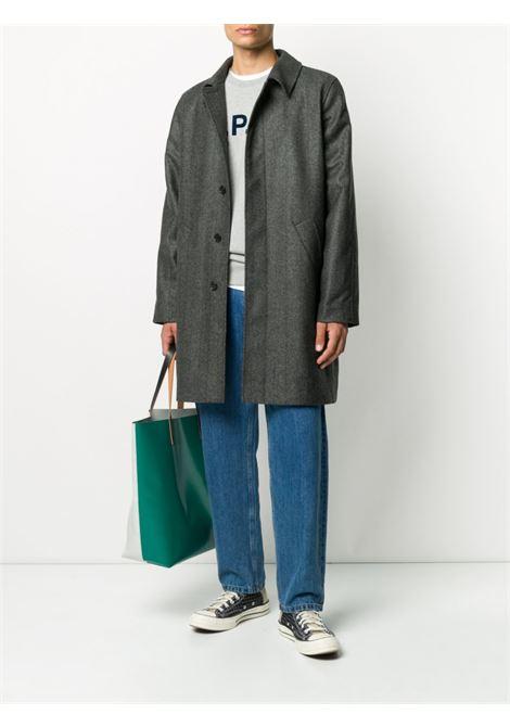 logo sweatshirt man gray in cotton A.P.C. | Sweaters | COECQ-H27378PLA