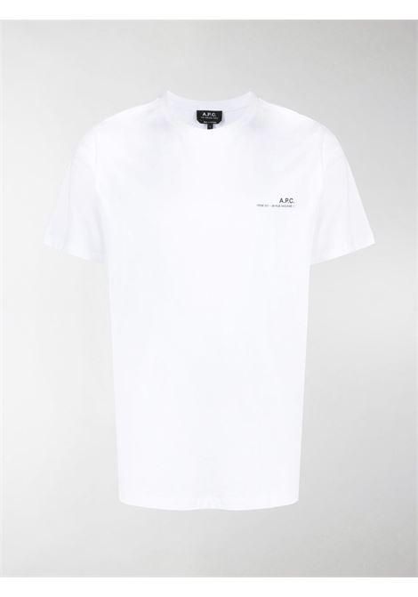 T-shirt con logo Bianca in Cotone Uomo A.P.C. | T-shirt | COEOP-H26904AAB