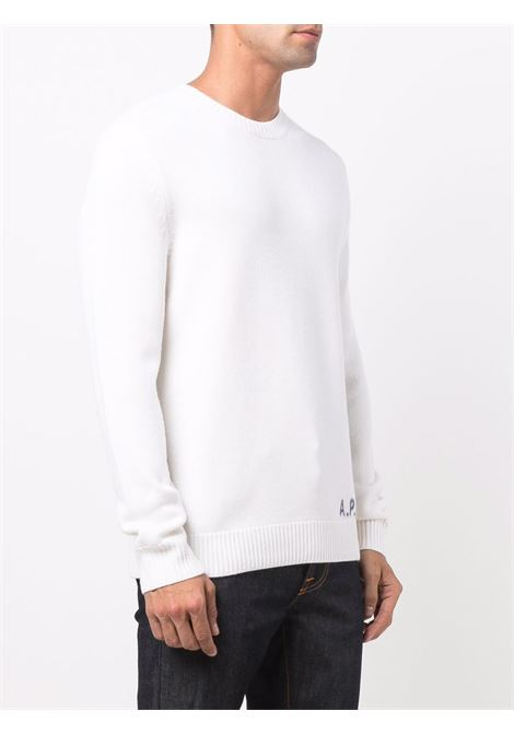 logo sweater man white in wool A.P.C. | Sweaters | WVBAZ-H23059AAC