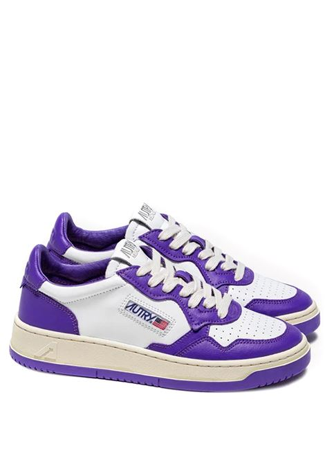 sneakers aulm wb05 man white purple in leather AUTRY | Sneakers | AULMWB05