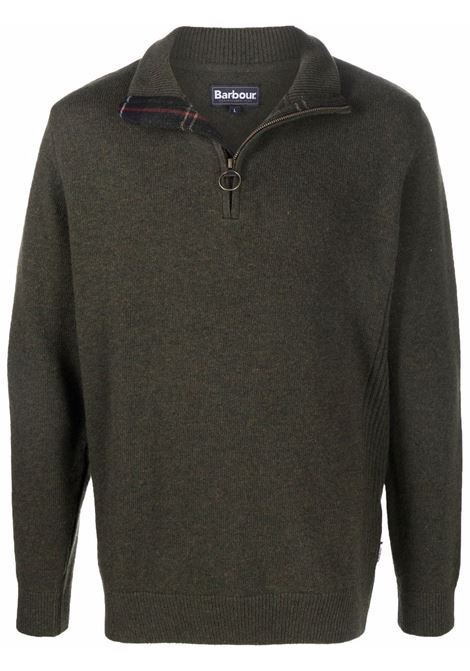 zip sweater man olive green in wool BARBOUR | Sweaters | MKN0837OL91