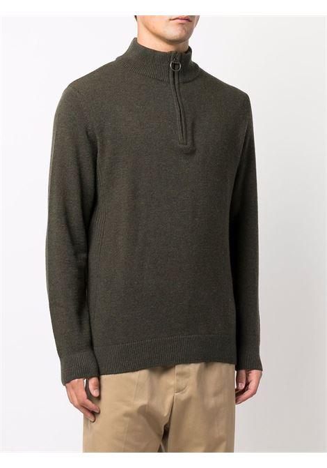zip sweater man olive green in wool BARBOUR   Sweaters   MKN0837OL91