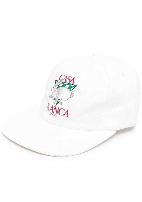 casa sport rabbit hat man white in cotton CASABLANCA | Hats | AF21-HAT-002OFF WHITE CASA SPORT RABBIT