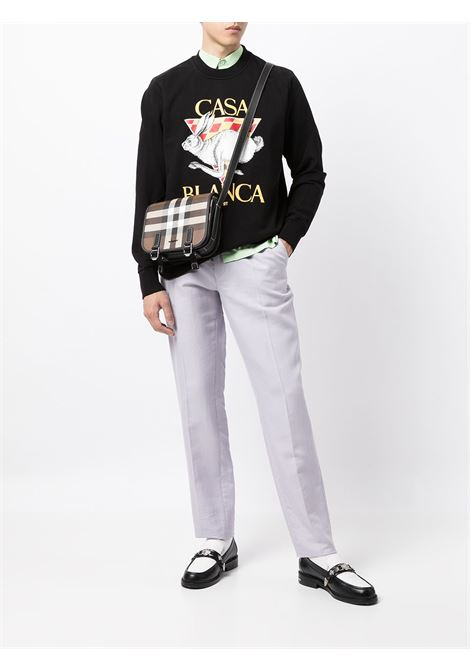 black casa sport sweatshirt man black in cotton CASABLANCA | Sweatshirts | MF21-JTP-001BLACK CASA SPORT