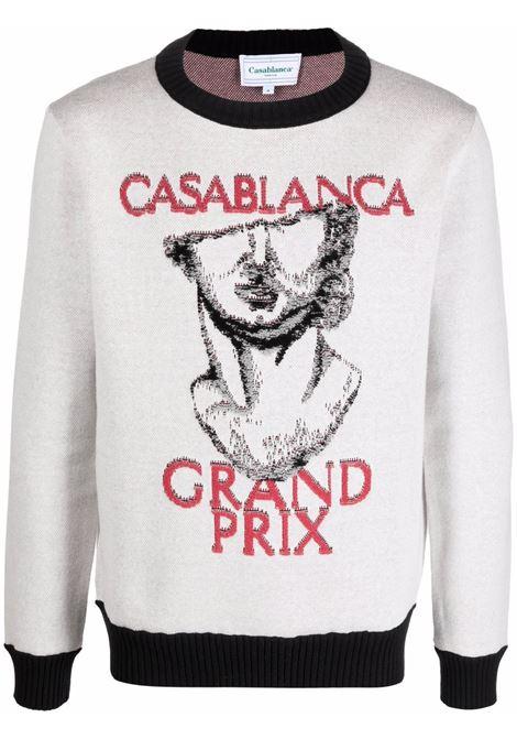maglione grand prix uomo bianco in cotone CASABLANCA | Maglieria | MF21-KW-095OFF WHITE