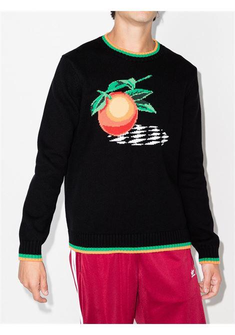 crew neck sweater man black in cotton CASABLANCA | Sweaters | MF21-KW-116BLACK