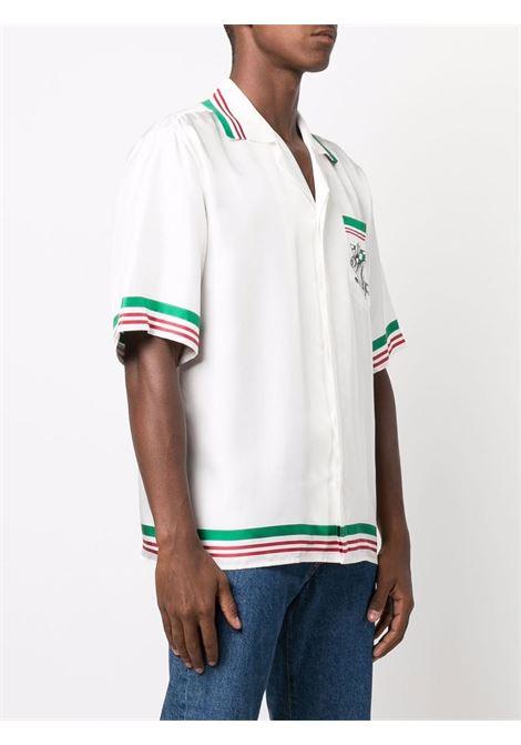 casa sport shirt man white in silk CASABLANCA | Shirts | MF21-SH-014CASA SPORT