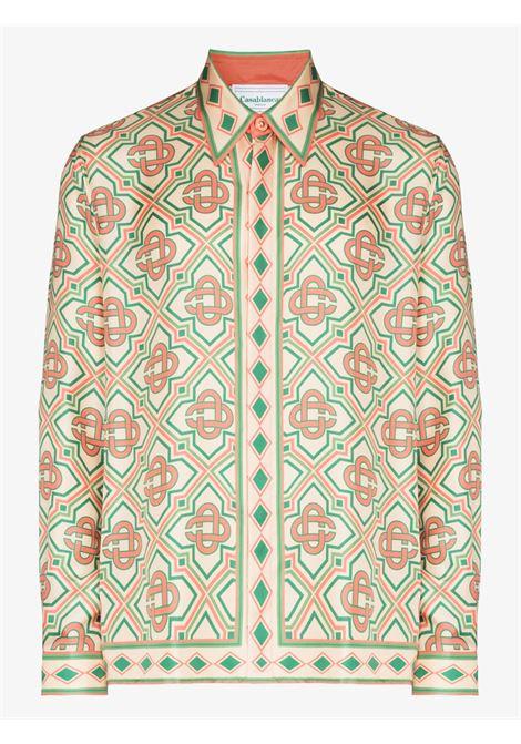 diamond monogram shirt man multicolor in silk CASABLANCA | Shirts | MF21-SH-021DIAMOND MONOGRAM