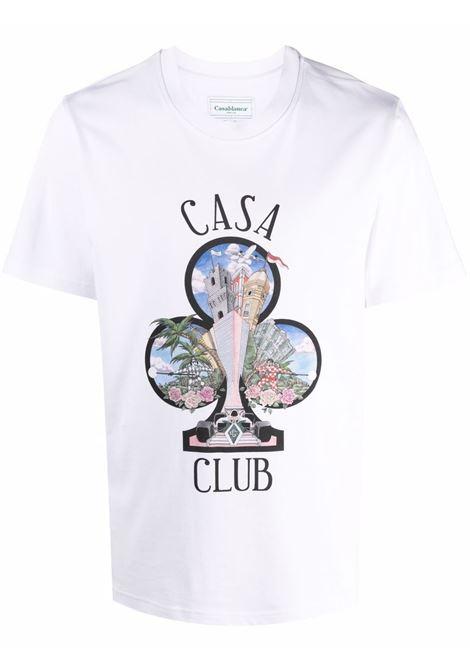 white casa club t-shirt man white in organic cotton CASABLANCA | T-shirts | MF21-TS-001WHITE CASA CLUB