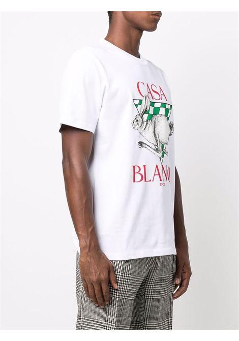t-shirt con stampa uomo bianca in cotone CASABLANCA   T-shirt   MF21-TS-001WHITE CASA SPORT GREEN