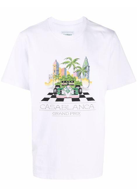 t-shirt white finish line uomo bianca in cotone CASABLANCA | T-shirt | MF21-TS-001WHITE FINISH LINE