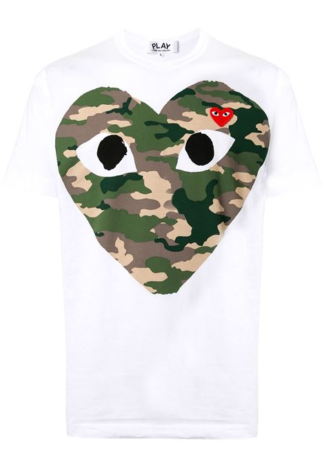 t-shirt con stampa uomo bianca in cotone COMME DES GARÇONS PLAY | T-shirt | P1T2421